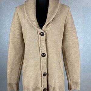 Max Studio Shawl Collar Sweater L Camel MerinoWool